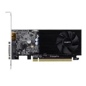 Graphics Card|GIGABYTE|NVIDIA GeForce GT 1030|2 GB|64 bit|PCIE 3.0 16x|GDDR4|Memory 2100 MHz|GPU 1177 MHz|Single Slot Fansink|1xDVI|1xHDMI|GV-N1030D4-2GL