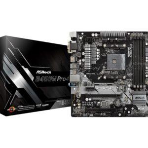 Mainboard|ASROCK|AMD B450|SAM4|MicroATX|1xPCI-Express 2.0 1x|2xPCI-Express 2.0 16x|2xPCI-Express 3.0 16x|2xM.2|Memory DDR4|Memory slots 4|1x15pin D-sub|1xDVI|1xHDMI|1xAudio-In|1xAudio-Out|1xMicrophone|2xUSB 2.0|5xUSB 3.1|1xUSB type C|1xPS/2|1xRJ45|B450MPRO4