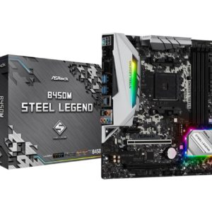 Mainboard|ASROCK|AMD B450|SAM4|MicroATX|1xPCI-Express 2.0 1x|1xPCI-Express 2.0 16x|1xPCI-Express 3.0 16x|2xM.2|Memory DDR4|Memory slots 4|1xHDMI|1xDisplayPort|2xUSB 2.0|5xUSB 3.1|1xUSB type C|1xPS/2|1xOptical S/PDIF|1xRJ45|5xAudio port|B450MSTEELLEGEND