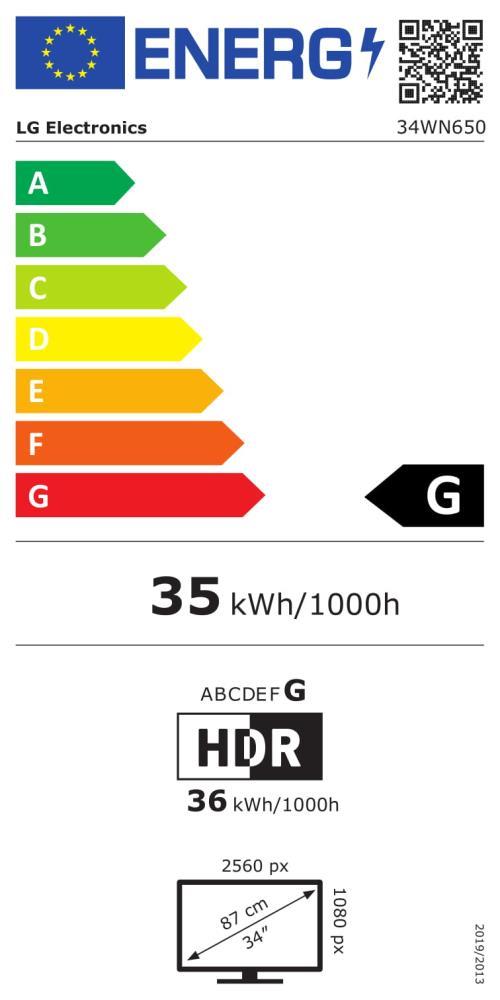 LCD Monitor LG 34WN650-W 34″ 21 : 9 Panel IPS 2560×1080 21:9 75HZ 5 ms Speakers Height adjustable Tilt Colour White 34WN650-W